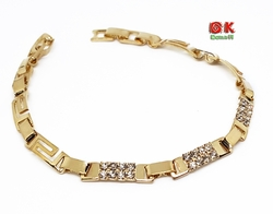 "1-0682-f10 18kt Brazilian Gold Layered 4.5mm Greek Design Bracelet (7"") with Stones."