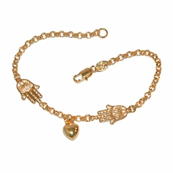 "1-0695-f1 Gold Filled Hamsa and Heart Bracelet, 7.5"" length, heart 3mm, hand 10mm,"