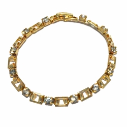 1-0661-2-f22 18kt Brazilian Gold Layered Fancy Link Crystals Bracelet