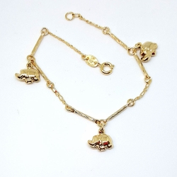1-0701-f5 Gold Filled Elephants Bracelet
