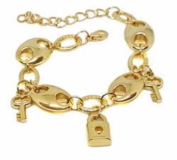 "1-0703-f9 18kt Brazilian Gold Plated Oversized Puff Marine Link Charm Bracelet. 7""-8"" adjustable length, 14mm puff links."