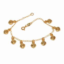 "1-0723-e9 Gold Filled Curb link Bracelet with Gold Plated sun charms. 7.5"" length. 7mm sun charms."