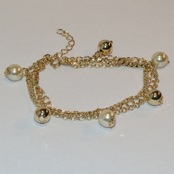 "1-0736-e6 Pearl and Gold Ball Charms Triple Bracelet. 7""-8"" adjustable length. 8mm Balls."