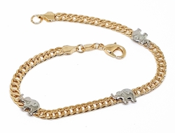 "1-0747-f10 18kt Brazilian Gold Layered Two Tone 7.5"" Double Curb Link Bracelet with Rhodium Elephants."