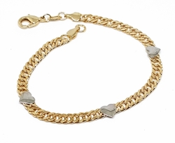 "1-0748-f10 18kt Brazilian Gold Layered Two Tone 7.5"" Double Curb Link Bracelet with Rhodium Hearts."