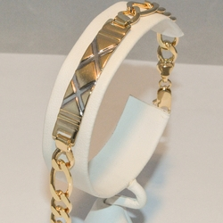 """1-0750-e3 Figaro Link with Two Tone ID Bracelet 7.5"""""""