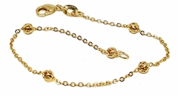 "1-0765-g1 18kt Brazilian Gold Layered Beaded Rolo Link Bracelet. 7"" length, 4mm filigree beads."