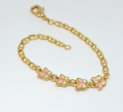 "1-0779-f6 18kt Brazilian Gold Layered Kids Pink Butterfly Marine Link Bracelet. 6"" inches length."
