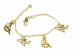 1-0781-D1 Boat and Planes Charm Bracelet