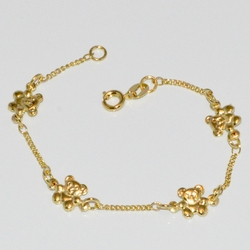 "1-0783-D1 Girls 6.5"" Bear Anklet"
