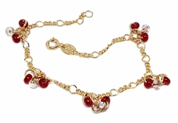 1-0786-f9 18kt Brazilian Gold Filled Bead Charms Bracelet. 7.25 inches, 4mm beads.