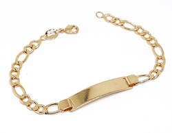 "1-0792-f10 18kt Brazilian Gold Layered Kids 6"" ID Bracelet with 4.5mm Figaro Links."