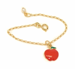 1-0803-D1 Girls Apple Charm Bracelet