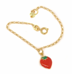 1-0803-D2 Girls Strawberry Charm Bracelet