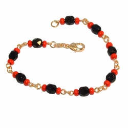 "1-0827-e9 Azabache Bracelet. 7.5"" length. 6mm stones (azabache stones are synthetic)."