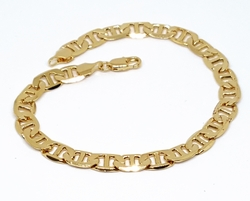 "1-0834-f9 18kt Brazilian Gold Layered Flat Marine Link Bracelet. 8"" length, 6.5mm wide."