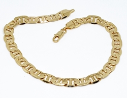 "1-0835-f10 18kt Brazilian Gold Layered Flat Marine Link Bracelet. 9"" length, 6.75mm wide."