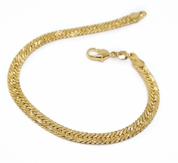 1-0842-f10 18kt Brazilian Gold Layered Alternative Cuban Link Bracelet. 8.25 inches, 5mm wide.