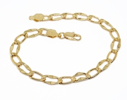 "1-0853-f10 18kt Brazilian Gold Layered Hammered 1x1 Link Bracelet. 8"", 6mm wide."