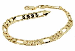 "1-0855-g1 18kt Brazilian Gold Plated Figaro Link Bracelet. 8"" length, 6mm wide."