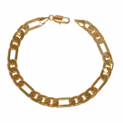 "1-0858-e10 Gold Plated Figaro Link Bracelet for men. 9"", 7.5mm wide."