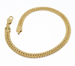 "1-0868-f10 18kt Brazilian Gold Layered Flattened Cuban Link Bracelet. 8"" in, 5mm wid.."