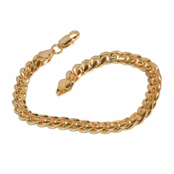 "1-0875-e8 Gold Plated Cuban Link Bracelet. 8.25"" length, 7mm wide."