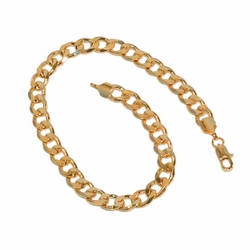 "1-0876-e8 Gold Plated Cuban Link Bracelet. 8.75"" in length, 6mm wide."