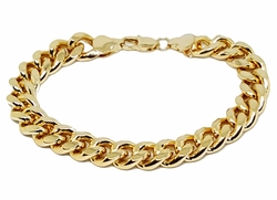 "1-0881-g1 18kt Brazilian Gold PLated Cuban Link Bracelet. 10mm wide, 8-1/4"" length."