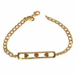 "1-0897-f1 Gold Layered Girl's ID Bracelet, 6"" length, 3mm links,"