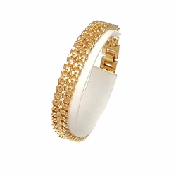 1-0900-F7 18kt Brazilian Gold Layered Double Cuban Link Bracelet. 8.5 inches, 10mm wide.