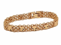 1-0906-f7 18kt Brazilian Gold Plated Bismark with Clover Accents Bracelet. 11mm wide, 7.25 inches length.
