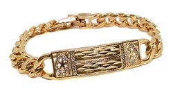 "1-0909-f9 18kt Brazilian Gold Plated Cuban link Daimond Cut ID Bracelet. 7.8"" slim fitted length, 10mm links, 13mm ID Plate."