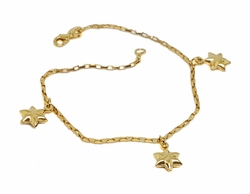 1-0918-f9 18kt Brazilian Gold Layered Star Charms 8 inch Bracelet. 7mm Stars.