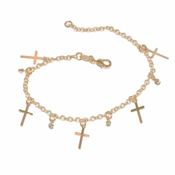 "1-0933-D1  7"" Crosses and Crystals Charm Bracelet"