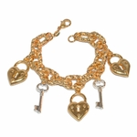 """1-0936-e10 Gold Plated Two Tone Heart Lock and Key Charms Bracelet. 7.5"""", 13mm links, 1"""" charms."""