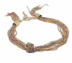 1-0449-f8 18kt Brazilian Gold Plated Three Tone Flashy Multilink Bracelet. 8mm wide. 7 to 8 inches adjustable length.