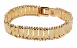 1-0937-f9 18kt Brazilian Gold Layered Fancy Wide Bracelete for Ladies. 13mm wide, 7.75 inches length.