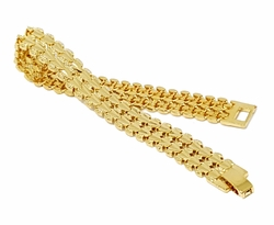 "1-0937-g1 18kt Brazilian Gold Layered Fancy Broad Bracelet.10mm wide, 7-3/4"" length"