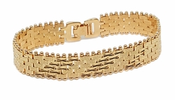 1-0938-f9 18kt Brazilian Gold Layered Fancy Wide Bracelete for Ladies. 13mm wide, 7.75 inches length.