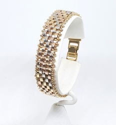 1-0939-f8 18kt Brazilian Gold Layered Three Tone 15mm Weave Bracelet. 7.5 inches length.