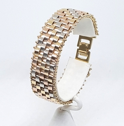 1-0940-f8 18kt Brazilian Gold Layered Three Tone 20mm Weave Bracelet. 7.5 inches length.