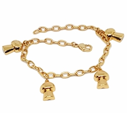 """1-0951-g1 Charm Bracelet with Rolo Link. 7-1/2"""" length, 1/2"""" charms."""