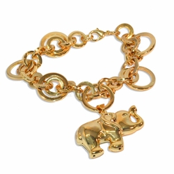 "1-0959-1-e8 Gold Plated Circles Bracelet with Elephant Charm. 8"" length, 4x25mm elephant and 20mm large circles."