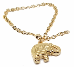 1-0959-1f29 18kt Brazilian Gold Layered Large Elephant Charm Bracelet with Rolo link. 8 to 9 inch adjustable length. 5mm link, 1.5 inch elephant.