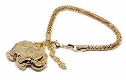 1-0959-1f9 18kt Brazilian Gold Layered Large Elephant Charm Bracelet with Mesh link. 8 to 9 inch adjustable length. 5mm link, 1.5 inch elephant.