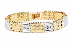 "1-0960-f12 18kt Brazilian Gold Plated 8"" Two Tone Fancy Bracelet, Unisex. 14mm wide."