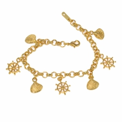 1-0968-D1 *Gold Plated Charms Bracelet