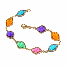 "1-0968-f1 Gold layered Bracelet with Colored Stones, 7.5"" length, 10mm stones, 4 colors available,"