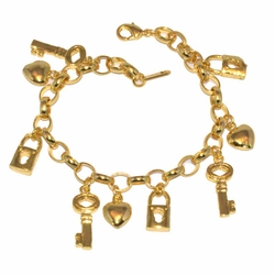 1-0969-D1 *Gold Plated Charms Bracelet